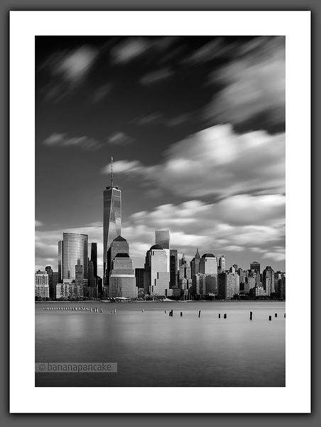The lower Manhattan skyline Black and White Print (BP4479BW)