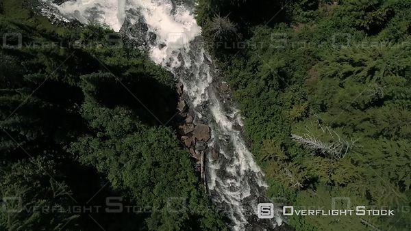 Birds eye view rotating over Alexander Falls in British Columbia