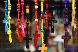 Wooden crosses and rosaries for sale on stall outside Virgen de Chaguaya Sanctuary, Chaguaya, Tarija Department, Bolivia