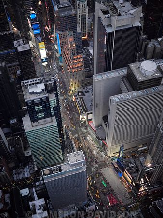 Aerial photograph of Times Square in New York City