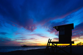 Blue Lifeguard Tower B Newport Beach Sunset