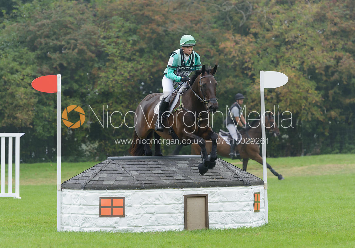 Coral Keen and WELLSHEAD FARE OPPOSITION - cross country phase,  Land Rover Burghley Horse Trials, 6th September 2014.