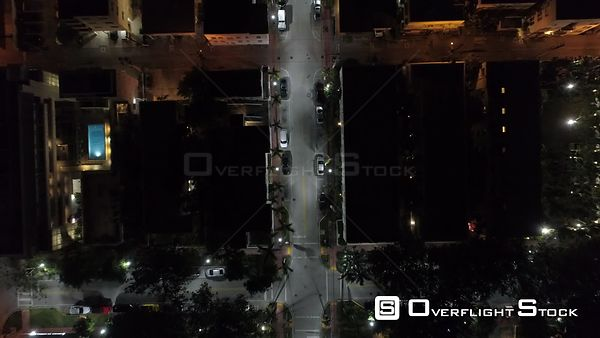 Straight Down Night Drone Video South Beach Miami Florida
