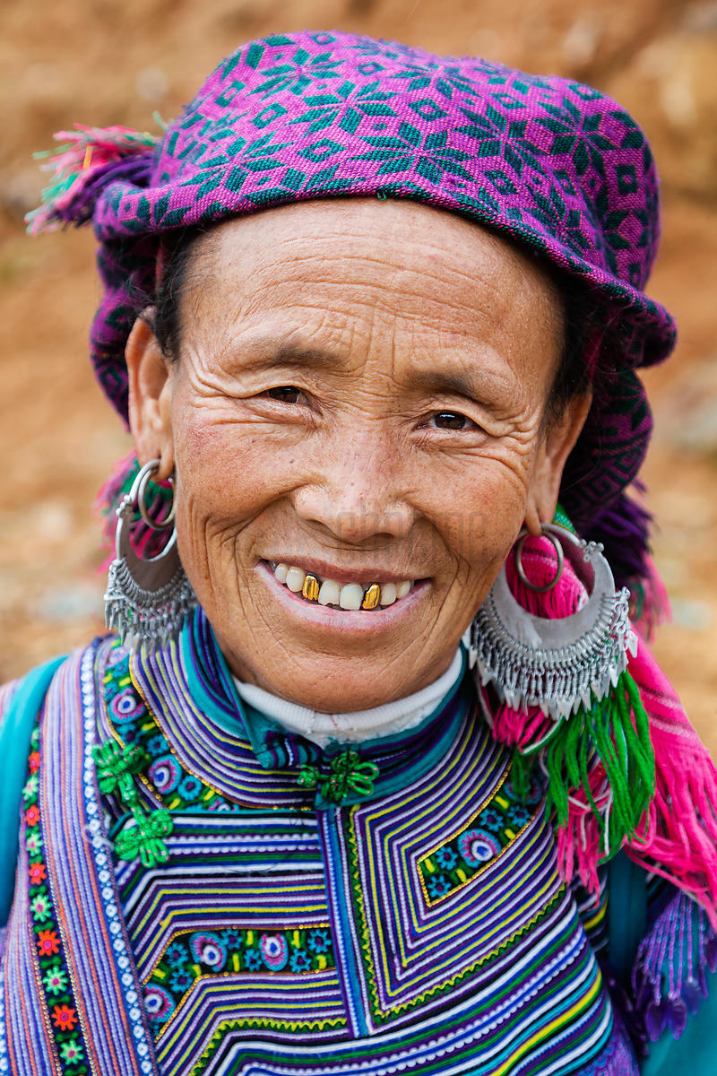 Portrait of a Woman from the Flower Hmong Tribe