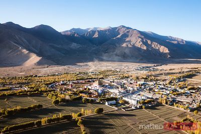 Aerial view of Samye monastery and valley, Tibet