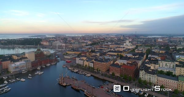 Sunrise Cityscape, Aerial Decreasing View of Kruununhaka Area and the Helsinki Cathedral, in Helsingfors City, on a Sunny Sum...