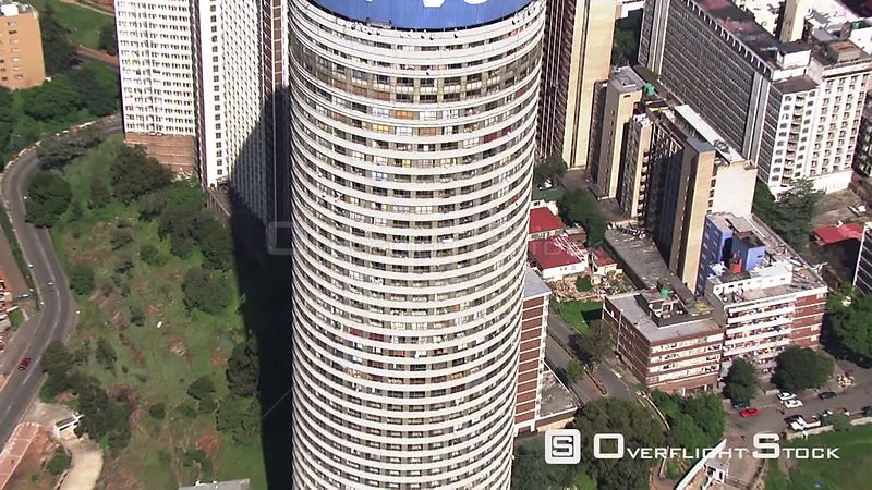Aerial shot of the Ponte building in Johannesburg Johannesburg Gauteng South Africa