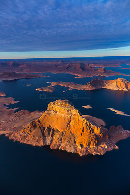 Aerial view of Lake Powell reservoir, Page, Arizona, USA, February 2015.