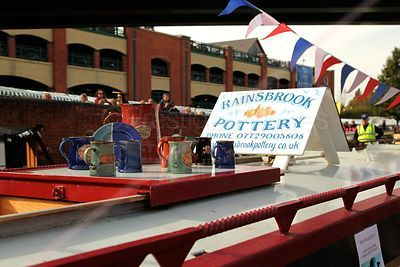 Pottery on Sale on Roof of Narrowboat