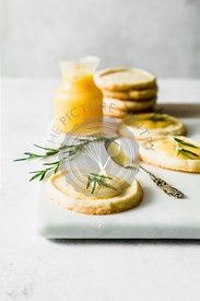 Rosemary sables with lemon curd