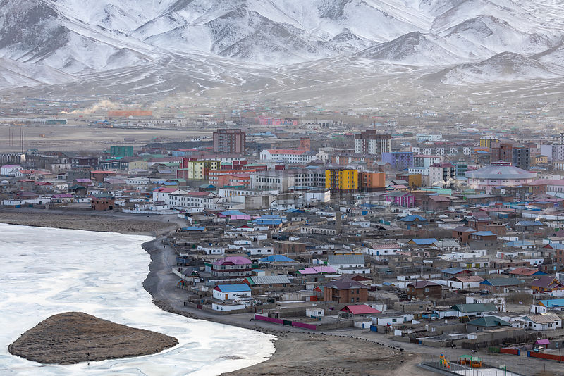 Elevated View of the Center of Ulgii from Friendship Hill