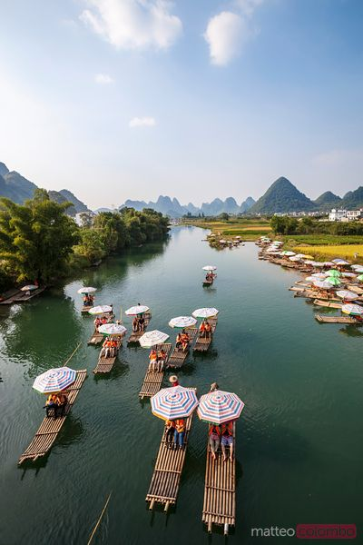 Bamboo rafts on Li river with famous karst peaks, Guilin, China