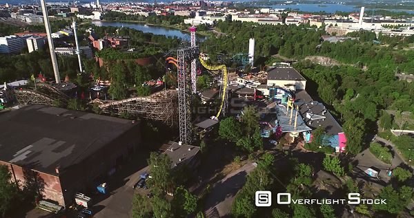 Linnanmaki, Aerial  Sideway View Around Helsinki Amusement Park, on a Sunny Summer Morning Dawn, in Helsingfors, Uusimaa, Fin...