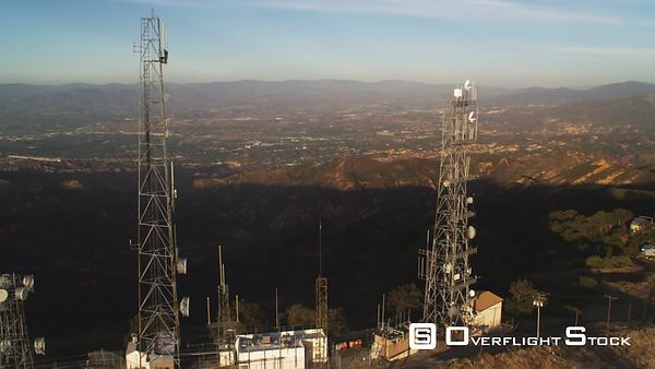 Flying Past Telecommunications Towers in the San Gabriel Mountains, California.