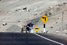 Man pushing tricycle cart along road in desert near Ilo, Peru