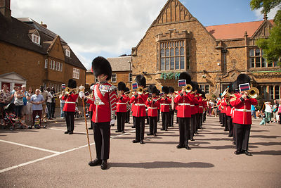 The Band of the Irish Guards playing outside The Church House Bar