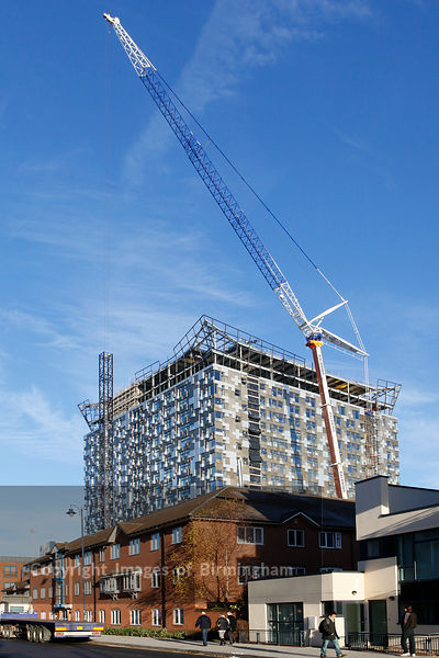 Construction of The Cube building at the rear of The Mailbox, Birmingham, England.