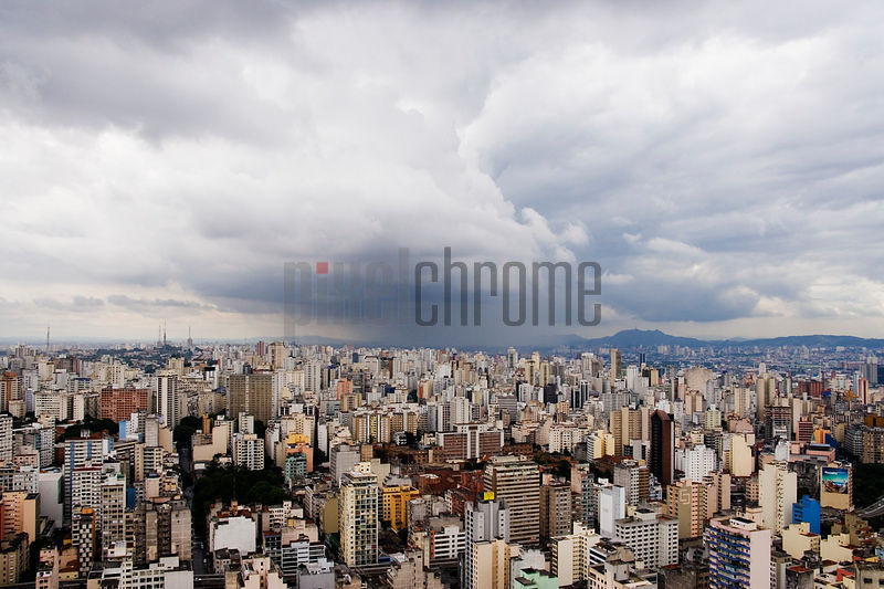 Rain Shower Approaching Downtown Sao Paulo