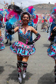 Beautiful Chinita dancer dancing the Morenada, Oruro Carnival, Bolivia