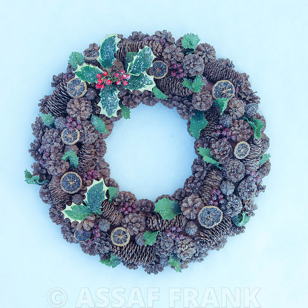 Christmas wreath in snow