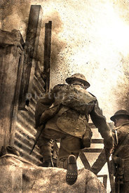 An atmospheric image of two British Tommy's, under fire, in a trench in WW1.
