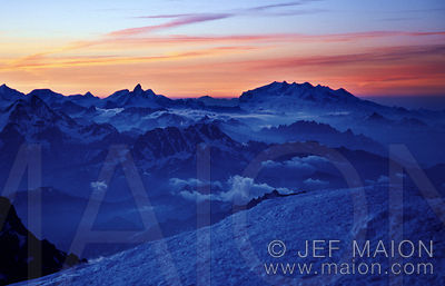 Matterhorn and Monte Rosa from the Mont Blanc summit at sunrise