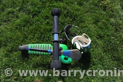 21st April, 2012. Castleknock GFC football nursery, Carpenterstown, Dublin. Pictured is a kids scooter and hurl and helmet. P...