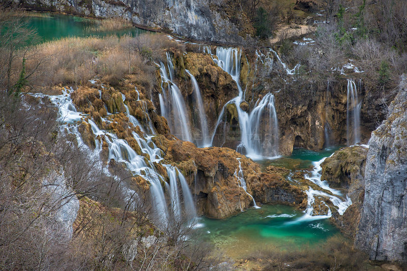 Series of waterfalls known as 'Sastavci' that cascade between mountain lakes, Plitvice Lakes National Park, Croatia. January ...