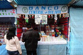 Imitation Bolivian Central Bank stall selling miniature bank notes, Alasitas festival, La Paz, Bolivia