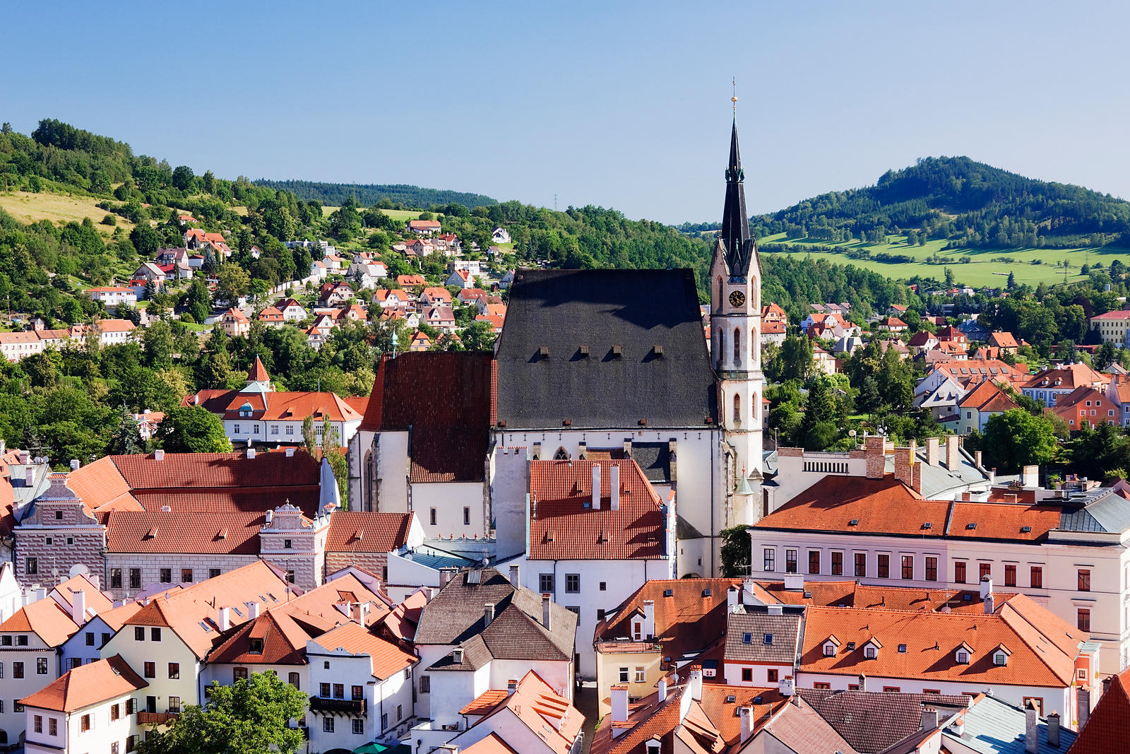 Elevated View of St Vitus Church from Cesky Krumlov Castle