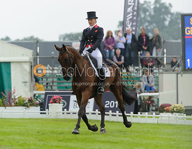 Kristina Cook and DE NOVO NEWS - dressage phase,  Land Rover Burghley Horse Trials, 6th September 2013.