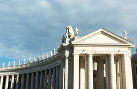 View of Bernini's colonnade circling Saint Peter's Square in Rome.