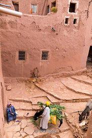 A local with his donkey in the ksar of Ait Benhaddou in Morocco