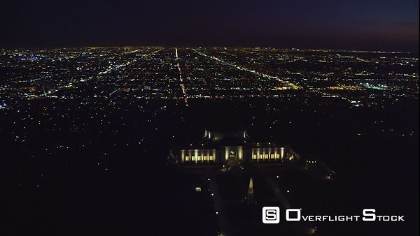 Night Aerial View of the Griffith Observatory in Los Angeles.