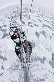 Passage made in wake of sailing boat through ice. Photographed from the top of the mast, Spitsbergen, Svalbard, Norway, Arcti...