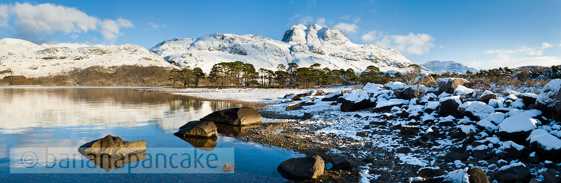 BP2294 - Panoramic view of Slioch, from Loch Maree, Winter