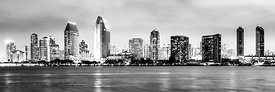 Panorama San Diego Skyline Black and White Picture
