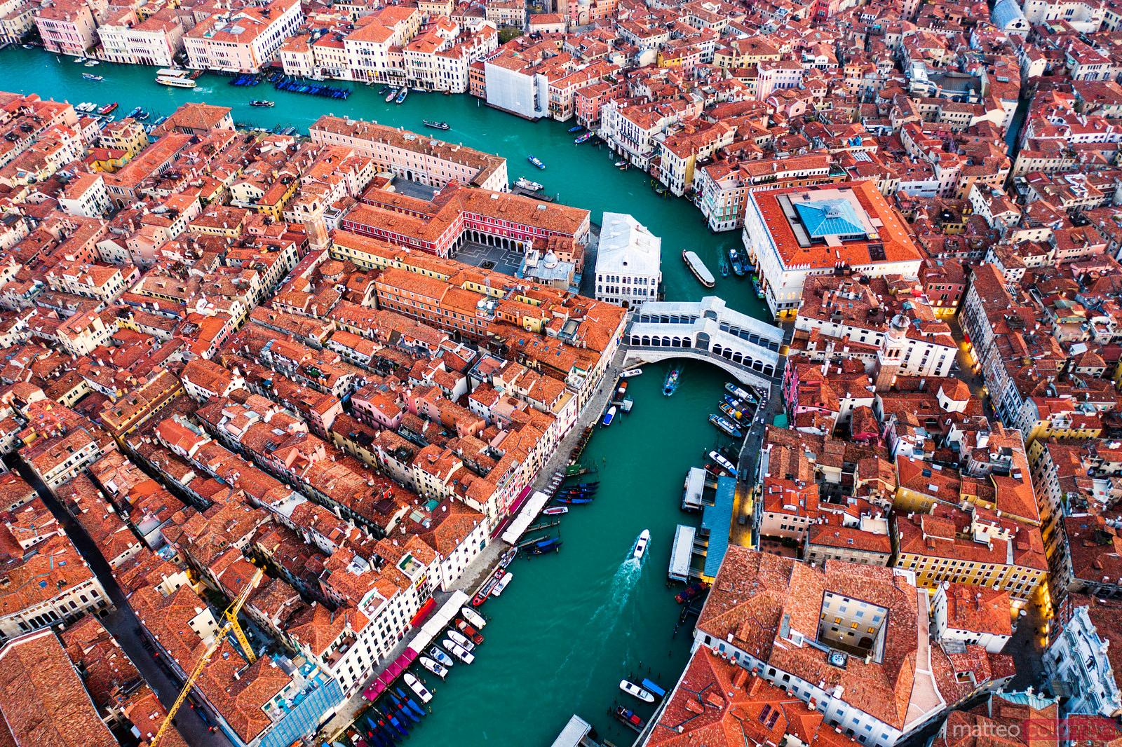 Aerial view of Grand Canal and Rialto bridge, Venice, Italy