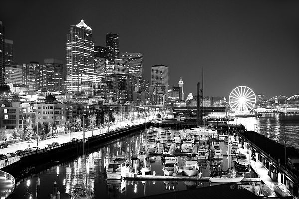 SEATTLE NIGHT SKYLINE DOWNTOWN WATERFRONT HARBOR