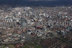 Manchester aerial photograph looking from the south of the city towards the city centre and the north of the city with the Fi...