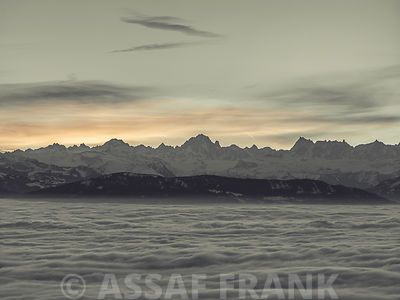Mont Blanc Mountain Range at sunrise
