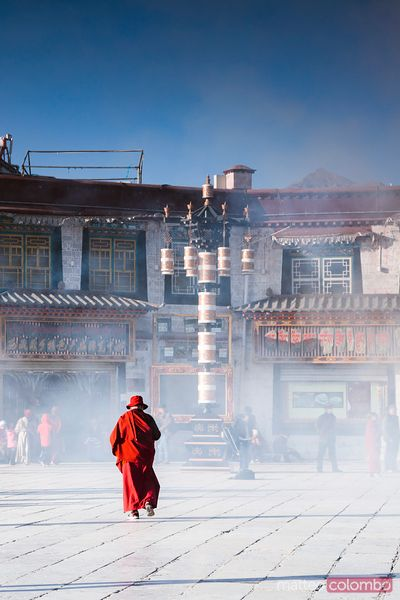 Buddhist monk in Barkhor square, Lhasa, Tibet