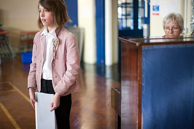 UK - Scunthorpe - A very nervous schoolgirl auditions for a singing part in a production of Cycle Opera at Henderson Avenue P...