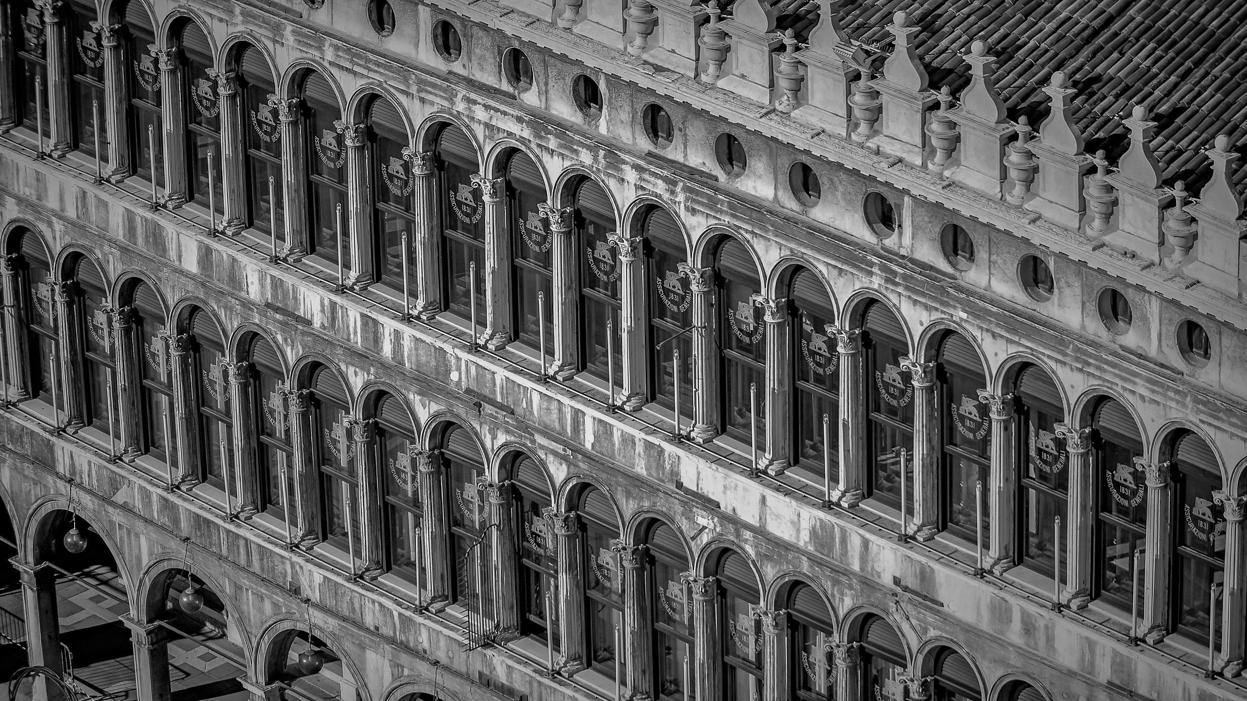 Detail View of the Procuratie Vecchie in Piazza San Marco, Venice