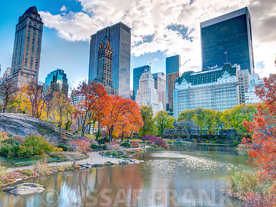Pond at Central Park with Manhattan skyline, New York