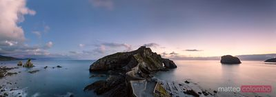 Panoramic of San Juan de Gaztelugatxe at sunset, Spain
