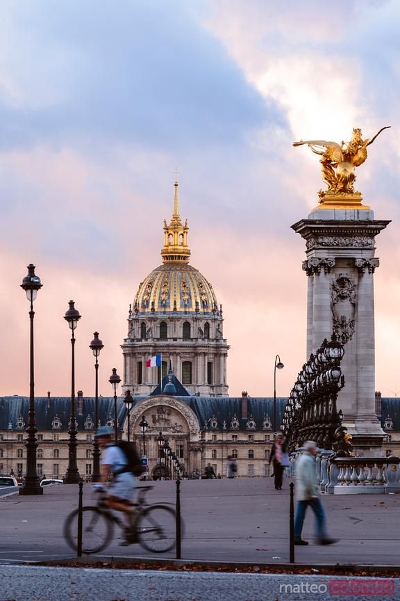 Les Invalides dome at sunset, Paris, France