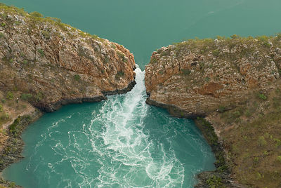 Aerial view of the horizontal waterfall, located within Talbot Bay in the Buccaneer Archipelago. Derby, Western Australia