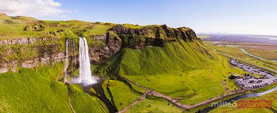 Aerial panoramic view of Seljalandsfoss waterfall, Iceland