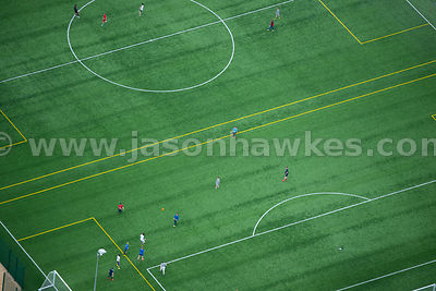 Aerial view of people playing football, Erskine